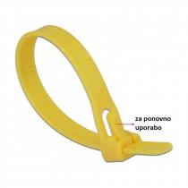 Vezice 150 x 7,5mm rumene za večkratno uporabo (pak/100) Delock