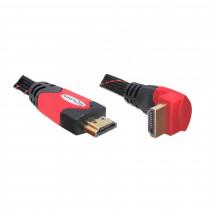 HDMI kabel z mrežno povezavo kotni 5m 4K rdeč DELOCK