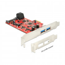 Kartica PCI Express kontroler x1 USB 3.0 DELOCK 2xA + 2xSATA III Low profile