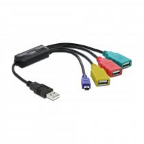 Hub USB na kablu 3xA, 1x mini USB DELOCK