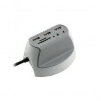 Hub USB 3xA + čitalec kartic + 2x avdio SBOX