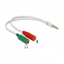 Adapter-AVDIO Jack 3,5M 4-pin - 2x3,5Ž 20cm CTIA Delock
