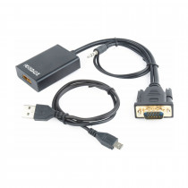 Adapter VGA M - HDMI Ž + avdio Gembird