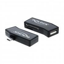 Pretvornik mikro USB - Čitalec kartic+ USB OTG DELOCK